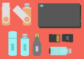 Pen Drive Storage Devices Flat Illustration Vector - бесплатный vector #358377