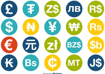 Currency Icon Set - vector #358397 gratis
