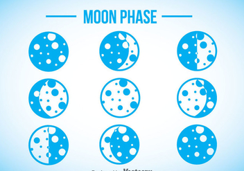 Moon Phase Blue Icons - vector gratuit #358407