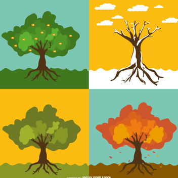 Set of 4 seasonal trees - vector gratuit #358487