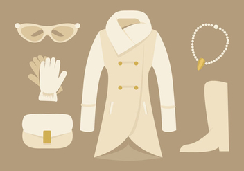 Elegant Womens Coat and Accessories Vectors - бесплатный vector #358597