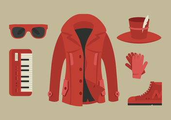 Red Coat and Accessory Vectors - бесплатный vector #358657