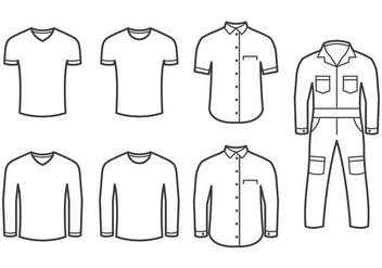 Overall And Folded Shirts Vectors - бесплатный vector #358687