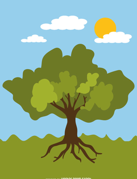 Leafy summer tree in cartoon style - Free vector #358737