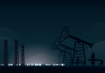 Oil Field Night Illustration - Free vector #358757