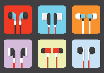 Isolated Earphone Vectors - vector gratuit #358837