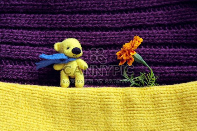 Toy yellow bear and marigold flower - Free image #359167