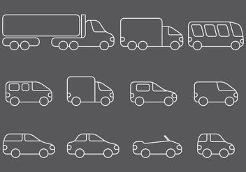 Line Vehicle Icons - vector #359357 gratis