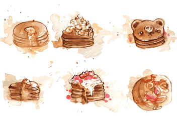 Handpainted Pancake Vector Set - Kostenloses vector #359477