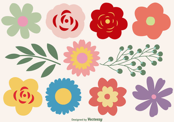 Cute Flower Shapes Set - vector #359577 gratis