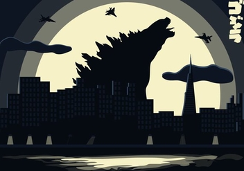 Godzilla Landscape Background Illustration Vector - бесплатный vector #359667