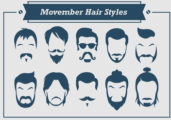 Movember Hair Styles Vector - Free vector #359877