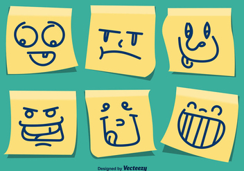 Yellow Vector Post It Caricature Set - vector gratuit #360247
