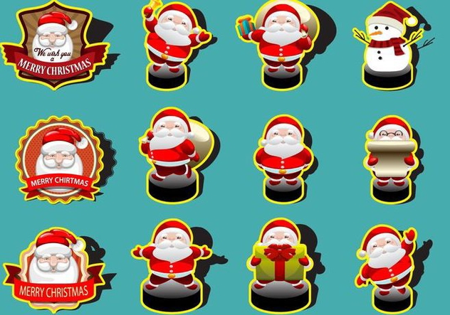 Santa Cute Sticker Collection Vectors - vector gratuit #360267