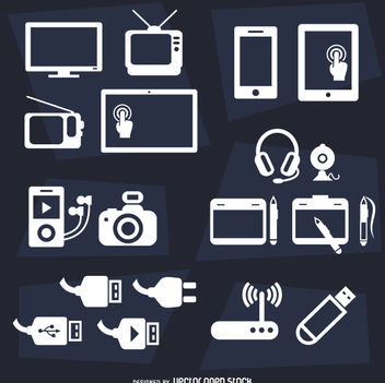 Devices flat icon set - vector gratuit #360527