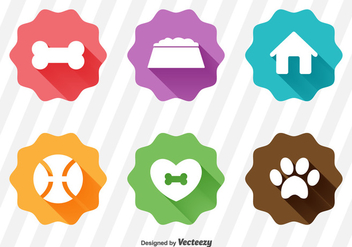 White Flat Puppy Icons Set With Long Shadows - Kostenloses vector #360807