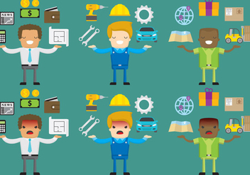 Happy And Angry Worker Vector Characters - vector gratuit #360947