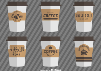 Coffee Cups With Vector Coffee Cardboard Sleeves - vector #361077 gratis