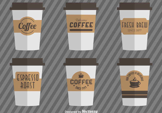 Coffee Cups With Vector Coffee Cardboard Sleeves - vector gratuit #361077