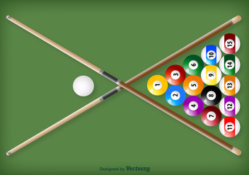 Vector Crossed Pool Sticks And Balls - vector gratuit #361087