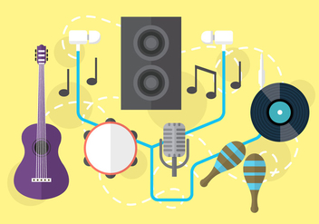 Audio Musical Vector Objects - vector gratuit #361127