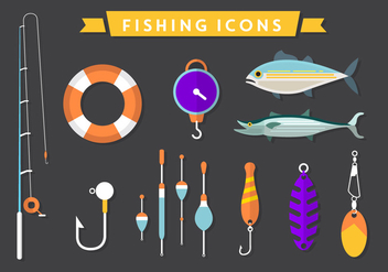 Flat Fishing Vector Icons - vector gratuit #361137