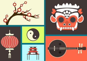 Set Of Bali Flat Icons - vector gratuit #361157