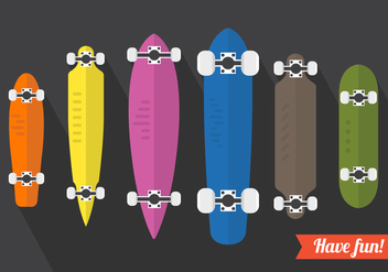 Vector Set Of Longboard Illustrations - Free vector #361257