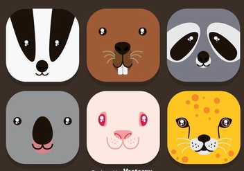 Animal Face Colorful Icons Vector - vector #361317 gratis