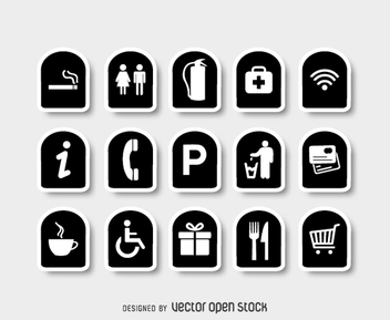 Collection of black and white service signs - vector gratuit #361727