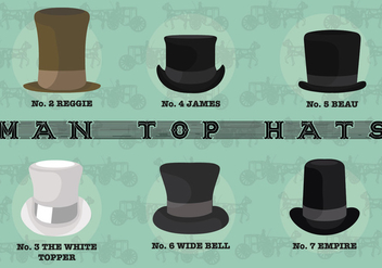 Free Man Top Hats Vectors - бесплатный vector #361957