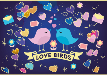 Free Love Birds Vector Background - Kostenloses vector #362047