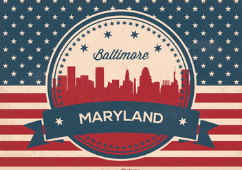 Retro Baltimore Maryland Skyline Illustration - Free vector #362067