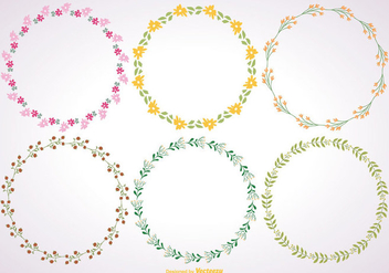 Cute Floral Frame Set - vector gratuit #362127