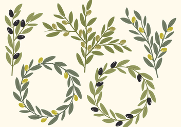 Vector Olive Elements - vector gratuit #362187