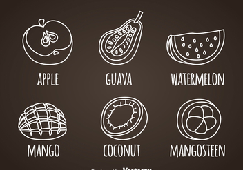 Fruits White Line Icons - Free vector #362197