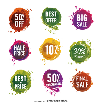 Set of colorful sale labels - vector gratuit #362237