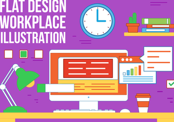 Free Work Place Vector Illustration - бесплатный vector #362477