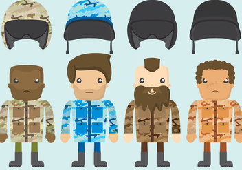 Squad Leader Cartoon Vectors - бесплатный vector #362787