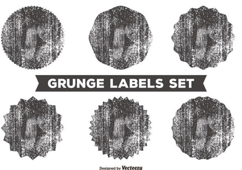 Messy Grunge Label Set - vector gratuit #362857