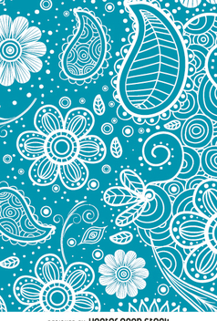 Paisley background in blue - Free vector #362977