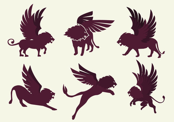 Winged Lion Silhouette Vector - Free vector #363067