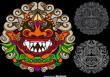 Vector Colorful Mythological Barong - Kostenloses vector #363217