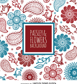 Red and blue floral backdrop - Kostenloses vector #363237