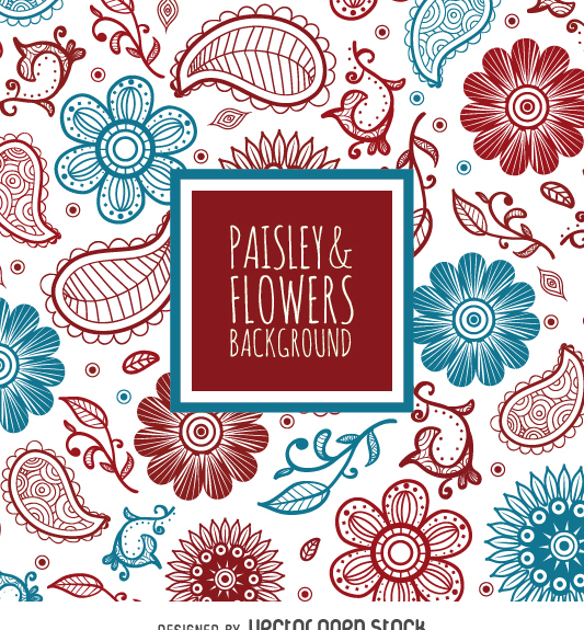 Red and blue floral backdrop - vector gratuit #363237