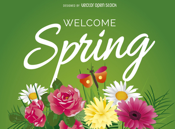 Welcome spring sign with flowers - vector gratuit #363257