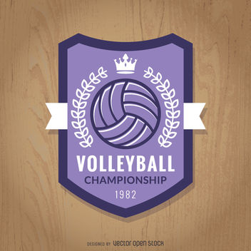 Purple volleyball championship badge - бесплатный vector #363457