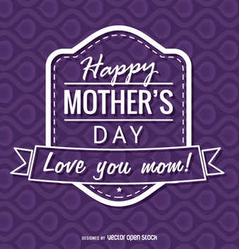 Purple Happy Mother's Day badge - vector gratuit #363507