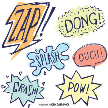 Comic sound effects set - vector #363527 gratis