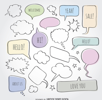 Doodle comic speech bubbles set - vector gratuit #363617